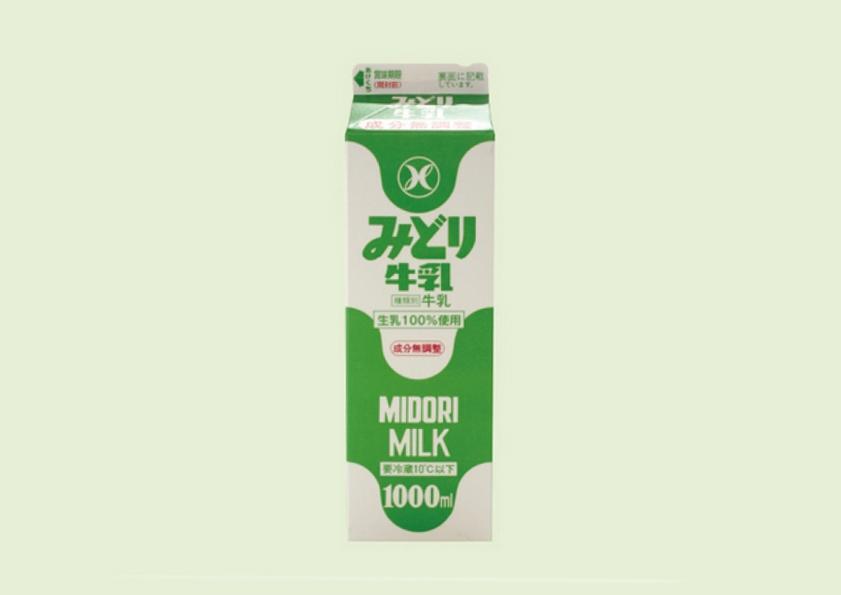 みどり牛乳 1000ml のパッケージデザイン
